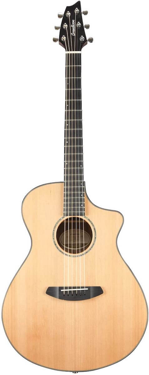 The Breedlove Solo Concert crossover guitar standing against a white drop