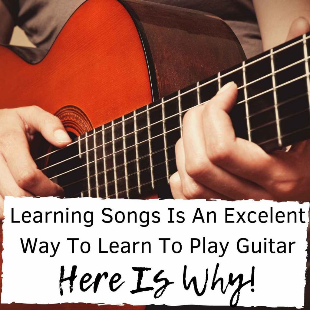 A person learning to play the guitar through the power of songs