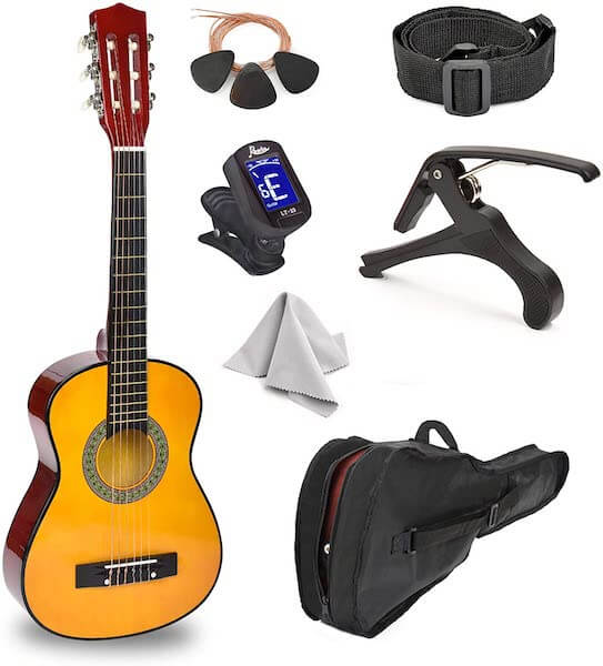 """A Master Play 30"""" guitar, 3 picks, spare steel strings, a strap shoulder, a capo, a tuner, a gig bag and a microfibre cloth"""