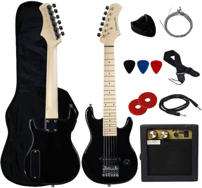 """A YMC 30"""" Electric Guitar with 5-Watt Amp, gig bag, strap, cable, spare strings, and 3 picks"""